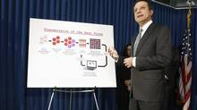 U.S. Attorney for the Southern District of New York Preet Bharara holds a news conference on the Gozi virus in New York, Jan. 23, 2013. Federal prosecutors charged three people in as many countries with creating and distributing the computer virus that infected more than a million computers around the world, including some operated by NASA and others by banks. (CARLO ALLEGRI/REUTERS)