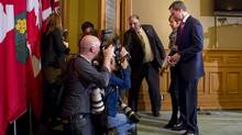 Ontario Premier Dalton McGuinty announces his resignation from one of the last Liberal strongholds. Ontario's Liberal Premier Dalton McGuinty (right) walks out of a press conference with his wife Terri in the Ontario Legislature on Monday October 15, 2012, after resigning. Photo by Chris Young for The Globe and Mail (Chris Young/Chris Young for The Globe and Mail)