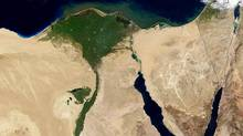 A NASA Terra satelllite image released Feb. 11, 2003, shows a true-color image of the The Nile River Delta. (NASA/AFP)