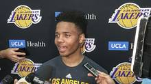 Markelle Fultz speaks with reporters after his private workout with the Los Angeles Lakers at NBA basketball team's training complex June 15, 2017, in El Segundo, Calif. (Greg Beacham/AP)