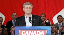 Canada's Prime Minister Stephen Harper pauses before speaking at a rally to celebrate the fifth anniversary of the Conservative parties minority government in Ottawa January 23, 2011. (Blair Gable/Reuters/Blair Gable/Reuters)