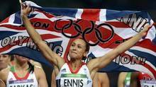 Britain's Jessica Ennis celebrates after she won her women's heptathlon 800m heat at the London 2012 Olympic Games at the Olympic Stadium August 4, 2012. Ennis was the overall winner in the heptathlon. (DYLAN MARTINEZ/REUTERS)