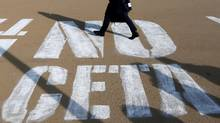 Graffiti in Brussels, Belgium about against CETA. (Image courtesy of Francois Lenoir/Reuters)