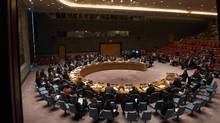An overall view of a United Nations Security Council emergency meeting on the situation in Syria, at the United Nations September 25, 2016 in New York. The UN Security Council met for urgent talks on Sunday as Syrian and Russian warplanes pounded rebel-held east Aleppo in the worst surge of bombing to hit the devastated city in years. (BRYAN R. SMITH/AFP/Getty Images)