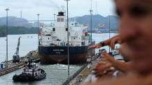 A ship goes through the Miraflores locks of the Panama Canal (ORLANDO SIERRA/AFP/Getty Images)