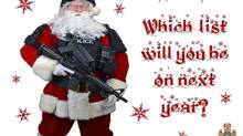 The front of a Christmas card issued by the Abbotsford,B.C. police department is shown in a handout photo. Prolific criminal offenders in Abbotsford, B.C., who have made the department's naughty list will soon be getting a special Christmas greeting.The front of the card shows Santa dressed in police tactical gear and carrying a machine gun. (Handout/The Canadian Press)
