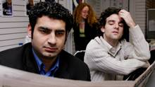 MONTREAL, 9 December, 2005 -- Farouk Karim, (L), PQ candidate in the by-election in multi-ethnic Cote des Neiges, with his longtime friend Akos Verboczy. (Ian Barrett/The Globe and Mail)