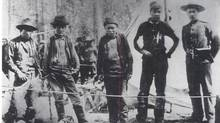 The four Nantuck brothers in custody at Tagish Police Post, summer of 1898. They were arrested for the murder of a prospector named William Meehan. Two of the brothers, Dawson and Jim were subsequently hanged in Dawson City, August 4, 1899. (Yukon Archives/National Museum of Canada Collection/Yukon Archives/National Museum of Canada Collection)