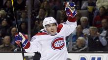 Montreal Canadiens' Michael Cammalleri reacts after scoring a goal against the San Jose Sharks during the first period of their NHL hockey game in San Jose, California December 1, 2011. (ROBERT GALBRAITH/REUTERS/ROBERT GALBRAITH/REUTERS)