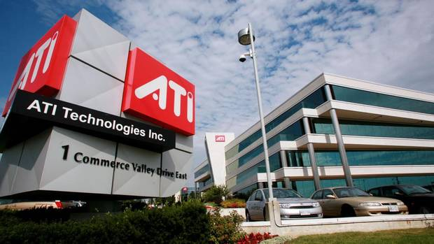 ATI Technologies The Markham, Ont. graphics card maker long sat on top of the Canadian tech industry, but was acquired by California's AMD for $5.6-billion (U.S.) in 2006. AMD posted big losses after the buyout, and phased out ATI branding by 2010. AMD began to phase out ATI branding in 2010. (NORM BETTS/BLOOMBERG NEWS)