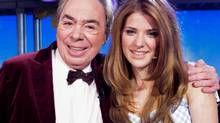 Danielle Wade poses with Andrew Lloyd Webber in Toronto, Monday, Nov.5, 2012. (Mark O'Neill/The Canadian Press)