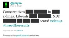 Screen grab from Twitter of one of the most retweeted posts found under the #tweettheresults hashtag. (Twitter)