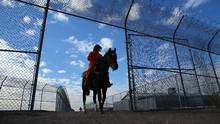 An inmate rides a wild horse as part of the Wild Horse Inmate Program at Florence State Prison in Florence, Arizona, Dec. 2, 2016. (MIKE BLAKE/REUTERS)
