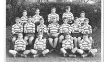 Gayhurst's rugby team: Peter O'Brian is second from the right seated on the ground.