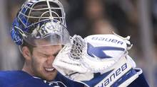 Toronto Maple Leafs goalie James Reimer reacts while playing against the Florida Panthers during third period NHL hockey action in Toronto on Tuesday, Feb. 28, 2012. (Nathan Denette)
