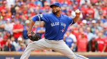 Francisco Liriano of the Toronto Blue Jays delivers a pitch against the Texas Rangers in the eighth inning of game two of the American League Divison Series at Globe Life Park on October 7, 2016 in Arlington, Texas. (Scott Halleran/Getty Images)
