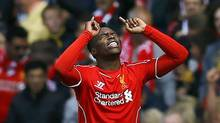 Liverpool's Daniel Sturridge celebrates after scoring a goal against Southampton during their English Premier League soccer match at Anfield in Liverpool, England on Aug. 17 (DARREN STAPLES/REUTERS)