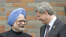 Indian Prime Minister Manmohan Singh and Prime Minister Stephen Harper in a 2008 file photo. (Tom Hanson/The Canadian Press)