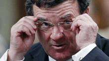 Canada's Finance Minister Jim Flaherty reacts during Question Period in the House of Commons on Parliament Hill in Ottawa February 14, 2011. (CHRIS WATTIE/Chris Wattie/Reuters)