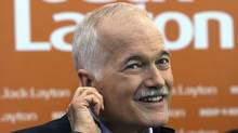 NDP Leader Jack Layton takes a question at a campaign stop in Winnipeg on April 27, 2011. (Andrew Vaughan/The Canadian Press/Andrew Vaughan/The Canadian Press)