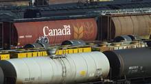Railcars sit at a Canadian National Railway (CN) yard in Hamilton, Ontario in this February 19, 2004 file photo. (ANDREW WALLACE/REUTERS)