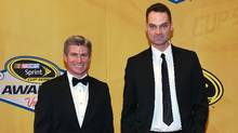 Television personalities Dan O'Toole and Jay Onrait arrive at the 2014 NASCAR Sprint Cup Series Awards at Wynn Las Vegas on December 5, 2014 in Las Vegas, Nevada. (Ethan Miller/Getty Images)