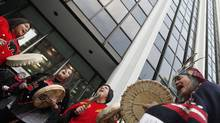 Native protesters demonstrate at the Enbridge headquarters in Vancouver on Dec. 2, 2010. (Simon Hayter for The Globe and Mail)