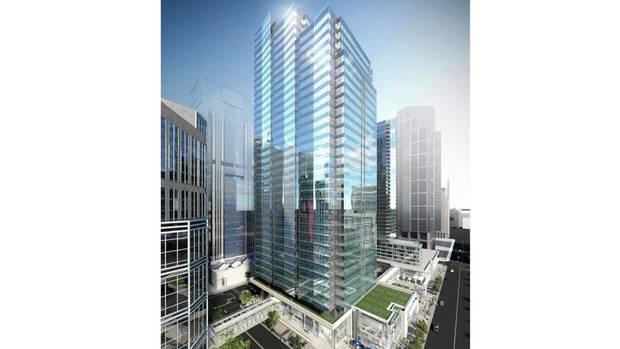 Phase 1 of Cadillac Fairview's City Centre project will cover a full city block in Calgary at 2nd Street and 3rd Avenue SW. The mixed-use project includes a 36-storey AA office tower of 853,032 square feet with a retail podium and five levels of underground parking with 632 stalls. Occupancy is expected in early 2016. (Cadillac Fairview)