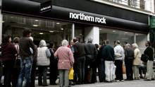 Margaret Thatcher's financial deregulation model worked miracles until the financial crisis landed like a nuclear bomb in 2008, threatening to destroy the country as bank after bank had to be rescued. Northern Rock is gone and Royal Bank of Scotland, briefly the world's biggest bank, is still a ward of the state. Here, customers queue to enter a branch of Northern Rock bank in September of 2007. (ALESSIA PIERDOMENICO/REUTERS)