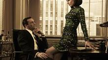 Stars of AMC drama series Mad Men Don Draper (Jon Hamm) and Megan Draper (Jessica Pare) are pictured. More companies realize their work culture has to change for more women to get to leadership roles. (AMC Handout/REUTERS)