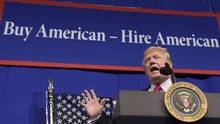 President Donald Trump speaks at tool manufacturer Snap-on Inc. in Kenosha, Wis., Tuesday, April 18, 2017. (Susan Walsh/THE ASSOCIATED PRESS)