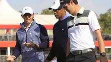 Rory McIlroy, Tiger Woods and Justin Rose (AHMED JADALLAH/REUTERS)
