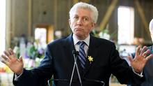 Bloc Qu�b�cois Leader Gilles Duceppe speaks during a campaign stop at a farm in Chambly, Que., south of Montreal. (Graham Hughes/The Canadian Press)
