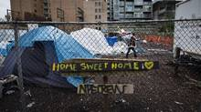 A homeless camp is pictured in the Downtown Eastside of Vancouver on Nov. 17, 2016. (DARRYL DYCK/THE CANADIAN PRESS)