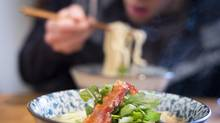 Harvest Community Foods' fatty pork-shoulder ramen with candied bacon in Vancouver, Feb. 26, 2013. (John Lehmann/The Globe and Mail)