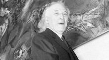 "In this file photo of Sept. 8, 1966, Marc Chagall poses by his mural ""Le Triumphe de la Musique,"" The Triumph of Music, during the unveiling ceremonies in the lobby of the Metropolitan Opera House at Lincoln Center, New York. (AP)"