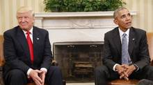 President Barack Obama meets with President-elect Donald Trump in the Oval Office of the White House in Washington, Thursday, Nov. 10, 2016. (Martinez Monsivais/Associated Press)