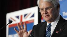 Former B.C. premier Gordon Campbell speaks at a Board of Trade Luncheon in Vancouver, February 10, 2012. (Jeff Vinnick For The Globe and Mail)