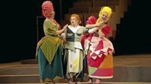 "(Left to right) Ileana Montalbetti as Clorinda, Elizabeth DeShong as Angelina and Rihab Chaieb as Tisbe in the Canadian Opera Company production of ""Cinderella"" (""La Cenerentola"") (Michael Cooper)"