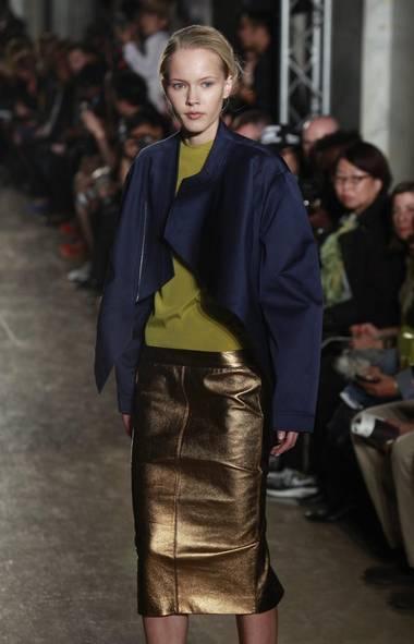 A model wears a creation by Chinese fashion designer Masha Ma at Paris Fashion Week. (Thibault Camus/AP)