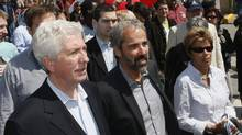 Daniel Paille, centre, wih Gilles Duceppe (left) and Parti Quebecois MLA Louise Beaudoin, walking at the May Day parade Sunday, May 1, 2011 in Montreal. (Jacques Boissinot/The Canadian Press/Jacques Boissinot/The Canadian Press)