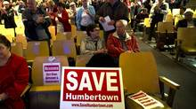 Residents of the Humber Valley Village community attend a community meeting to discuss a proposed new development in Etobicoke, Ont. (Kevin Van Paassen/The Globe and Mail)