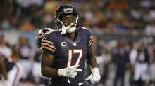 The NFL has suspended Chicago Bears receiver Alshon Jeffery four games without pay for violating the league's policy on performance-enhancing substances, another big blow for a struggling team. (Charles Rex Arbogast/AP)