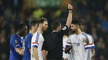 Chelsea's Diego Costa (far right) is sent off by referee Michael Oliver Action Images via Reuters (Carl Recine/REUTERS)