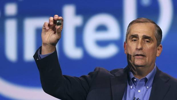 Can you see that little thing in his hand? Intel CEO Brian Krzanich is holding Intel's Edison, a new personal computer in the size of an SD card. Based on Intel's Quark technology, it has built-in wireless capabilities and supports multiple operating systems. And it is tiny. (ROBERT GALBRAITH/REUTERS)