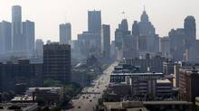A view of the Detroit skyline is seen looking south up Woodward Avenue. (REBECCA COOK/REUTERS)