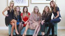 (L-R) Robin Reichman, Amanda Hansen, Mary Zilba, Jody Claman, Ioulia Reynolds and Ronnie Negus from the television show The Real Housewives of Vancouver pose for a photo January 30, 2013 in Vancouver. (Jeff Vinnick for The Globe and Mail)
