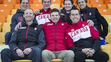 Team Canada's Speed skating support team (back row left to right) Sean Ireland, Paul Hunter, Reece Derraugh, Marcin Goszczynski (front row left to right) Scott Maw, Derek Robinson, Eric Brisson at the Sochi Olympic skating Olval February 20, 2014. (John Lehmann/The Globe and Mail)