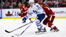 Toronto Maple Leafs right wing William Nylander skates past Detroit Red Wings centre Dylan Larkin during Sunday's game. Toronto won 1-0. (Rick Osentoski/USA Today Sports)
