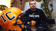 Marwan Hage, offensive lineman for the Hamilton Tiger-Cats. (John Morstad For The Globe adn Mail)